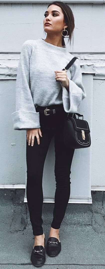 #summer #outfits  Grey Knit + Black Skinny Jeans + Black Loafers  ✨