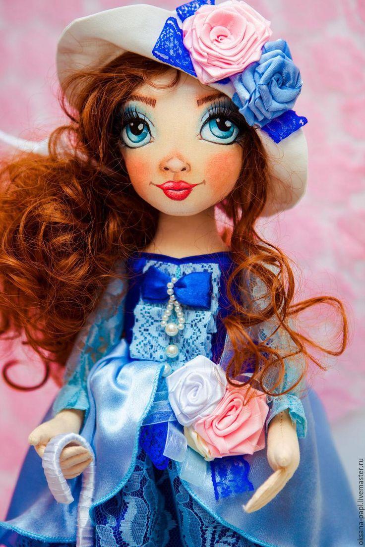 Купить Авторская текстильная  кукла - синий, авторская ручная работа, авторская кукла купить