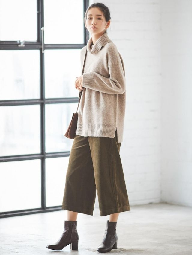 Newest Real Pic Womens Cashmere Knitwear Wide Leg Pants Straight Trousers Warm