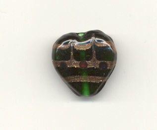 Green  Torch Blown Czech Wedding Cake Heart Focal by cshort0319