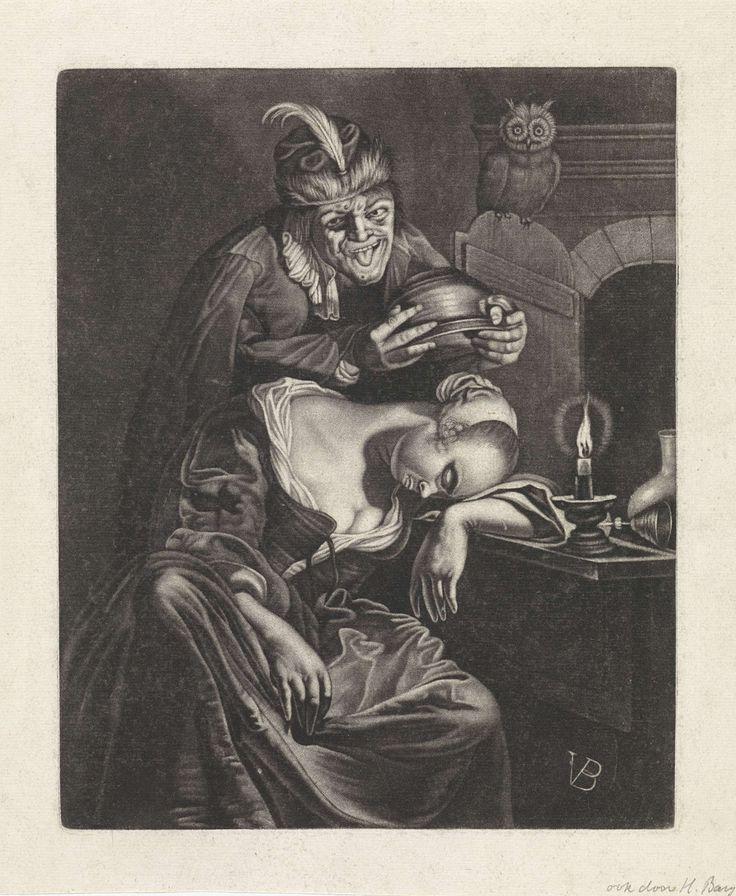 Jan van der Bruggen | De wijn is een spotter, Jan van der Bruggen, Frans van Mieris, 1664 - 1725 | Een nar-achtige figuur staat op het punt om een slapende vrouw een pispot op het hoofd te zetten. Hij steekt zijn tong uit. Op de tafel, waar de vrouw haar hoofd op te rusten heeft gelegd, ligt een omgevallen wijnglas. Op de deur van het venster zit een uil.