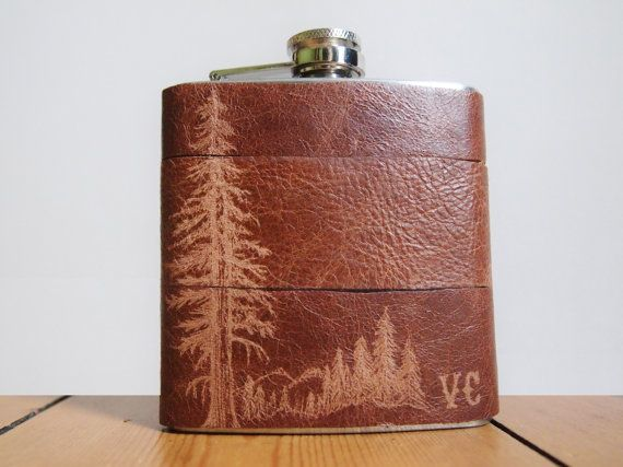 Mountain Man Leather Flask Personalized initials by Gx2homegrown, £35.00