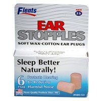 Flents Ear Stopples 6's (6 boxes 6 units) by Flents. $15.99. Quality Made Product. Protects Hearing by Reducing Harmful Noise. Reduces Disturbing Noise for a Good Night's Sleep. Flents Ear Stopples are made of naturally hypo-alergenic wax and cotton, are great for studying and sleeping. The wax, softened by contact with your body, molds gently to fit your ears perfectly, making Ear Stopples some of the most comfortable plugs you can buy at any price. The wax is held t...