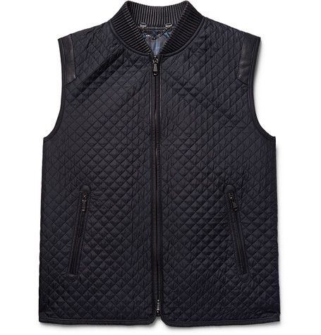 BRIONI Leather-Trimmed Quilted Silk Gilet in navy