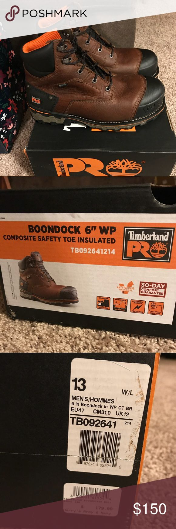 """Men's Timberland Boondock WP composite safety toe New in box. Men's size 13 Timberland Boondock 6"""" WP composite safety toe insulated Boots. Purchased from Harry's Army Navy for $180 to be a Christmas gift now they need a new home since they cannot be returned. You are able to return them for a store credit if you wanted to exchange for something else there but I have no need for anything else there. Message with interest-serious inquiries only please. Thank you. Posted on multiple sites…"""