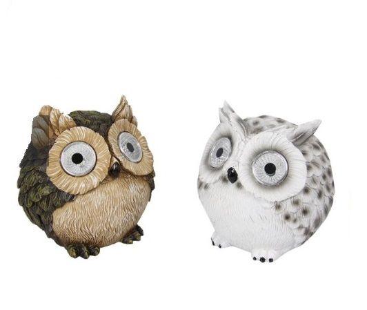 Mr & Mrs Owl Garden Ornament with Solar Light Eyes