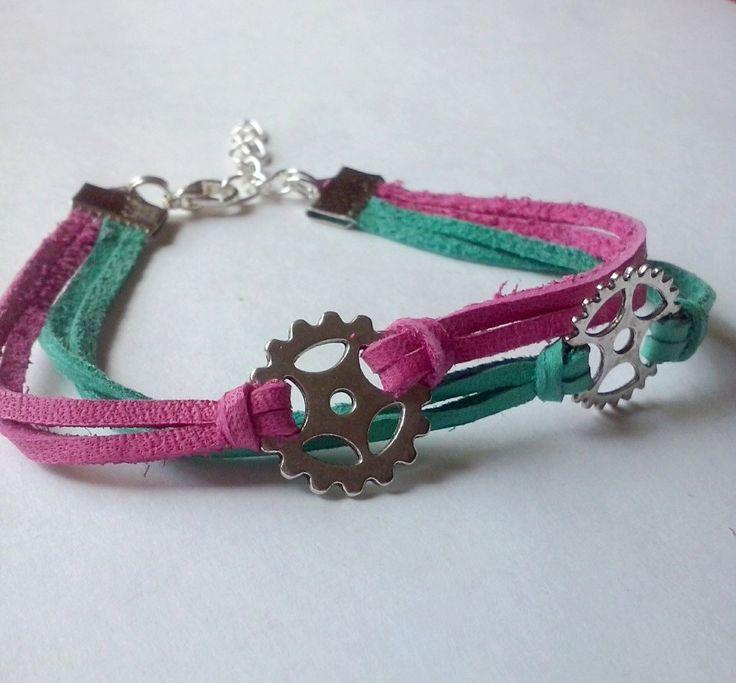bike love bracelet,bike gears bracelet, leather bracelet ,trijewelry,friendship bracelet by TriJewelry on Etsy