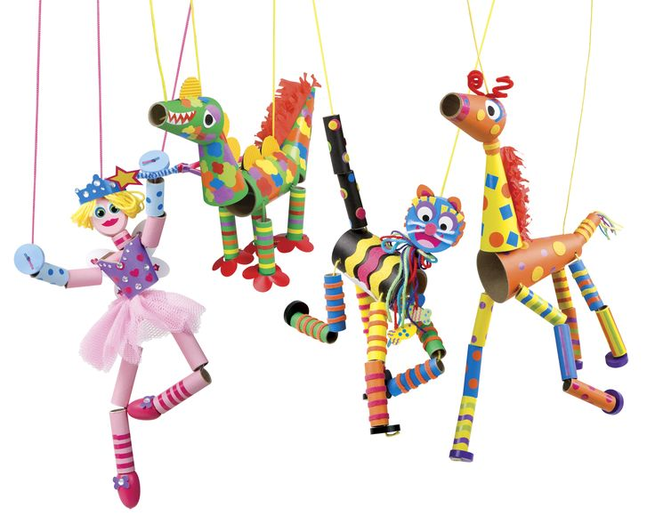adorable marionette puppets - recycled materials