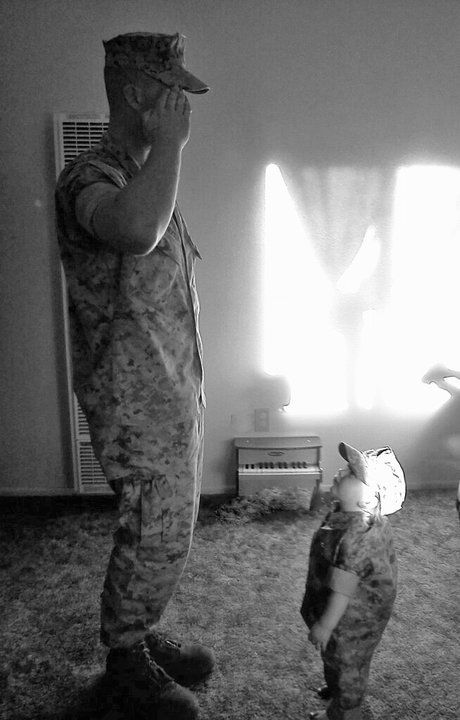 It was the best thing in the world when he came home after months and months and my son dresses exactly like him and saluted him :) then cried and said daddy your home pick me up. He has since left again and so we wait with heavy hearts full of hope.