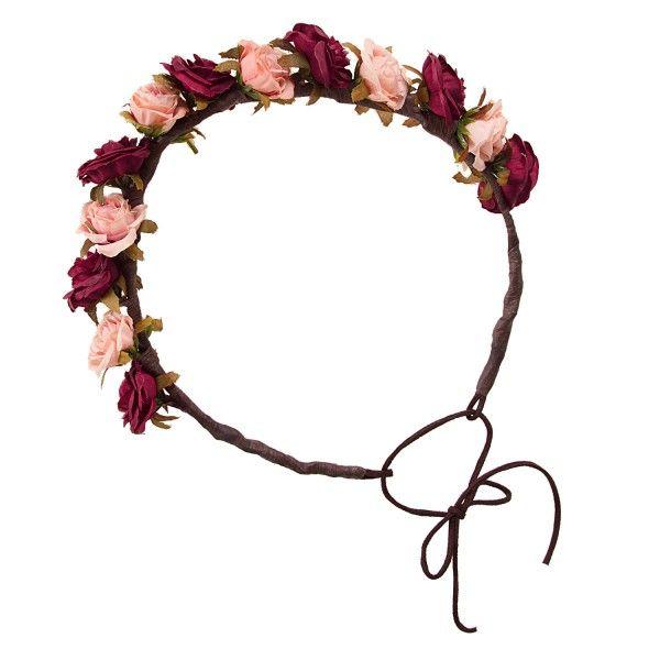 Coroa de flores Miss Boho burgundy