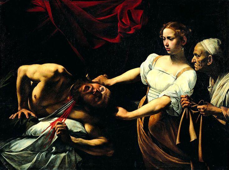 Caravaggio  - Giuditta e Oloferne, 1599, olio su tela, 145 × 195 cm, Roma, Galleria nazionale d'arte antica.