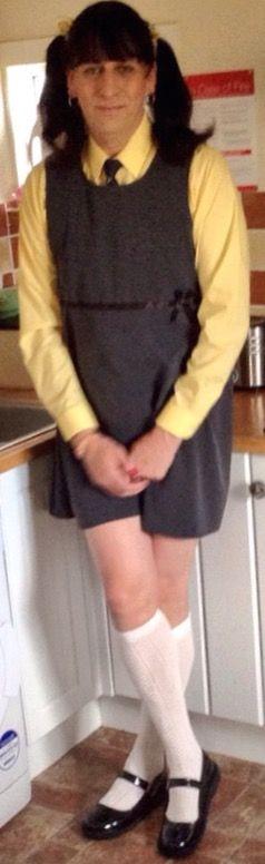 What a smart #schoolgirl #katie #kenneth looks here #schoolpinaforedress #schoolpelerinesocks #maryjaneshoes #pigtails #sissy #sissygirl