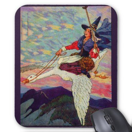 1920s Mother Goose riding her giant goose Mouse Pad - retro gifts style cyo diy special idea