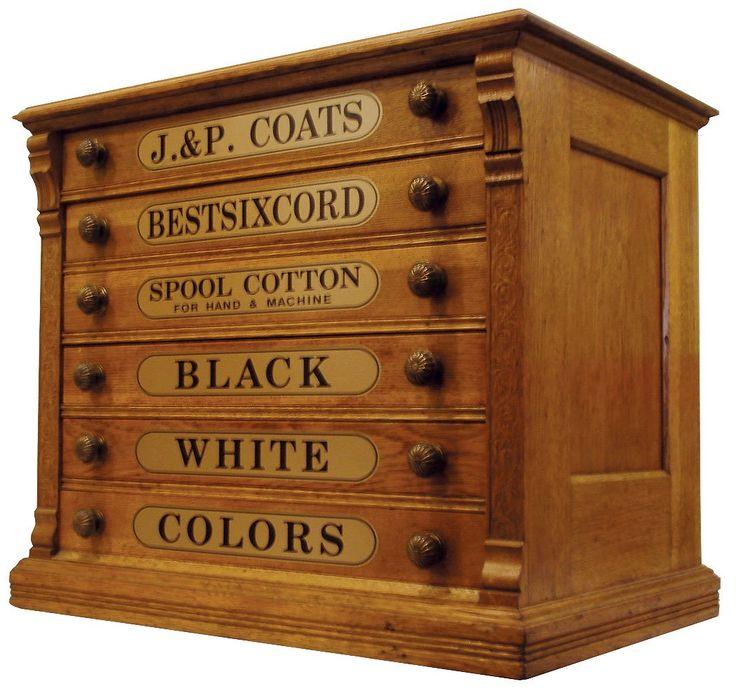 0569: Spool Cabinet, Ju0026P Coatsu0027 Oak 6 Drwr W/orig Pulls On