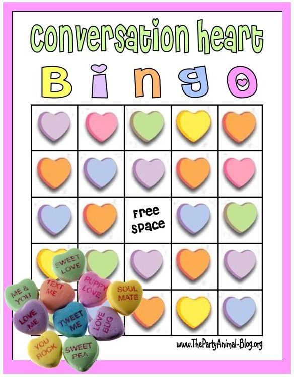 FREE Printable Conversation Heart Bingo Game