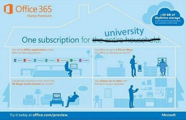"""Microsoft's Bringing """"Office 365 University"""" – Will Cost $80 For A Four-Year Subscription - More than 22 million students are currently using Microsoft's Office 365 for Education online services, but Microsoft wants to take this service one more step ahead. On October 19, the company has announced a new version of Office 365 for students. This special edition, Office 365 University will cost just $79.99 for a four-year and two computer license. Get the details inside. [Click on Image Or…"""