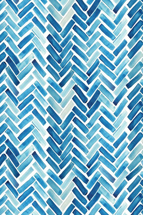 Blue watercolor herringbone design on fabric, wallpaper or gift wrap. This modern design could add a playful touch to any boring space! Click to see more watercolor fabrics.