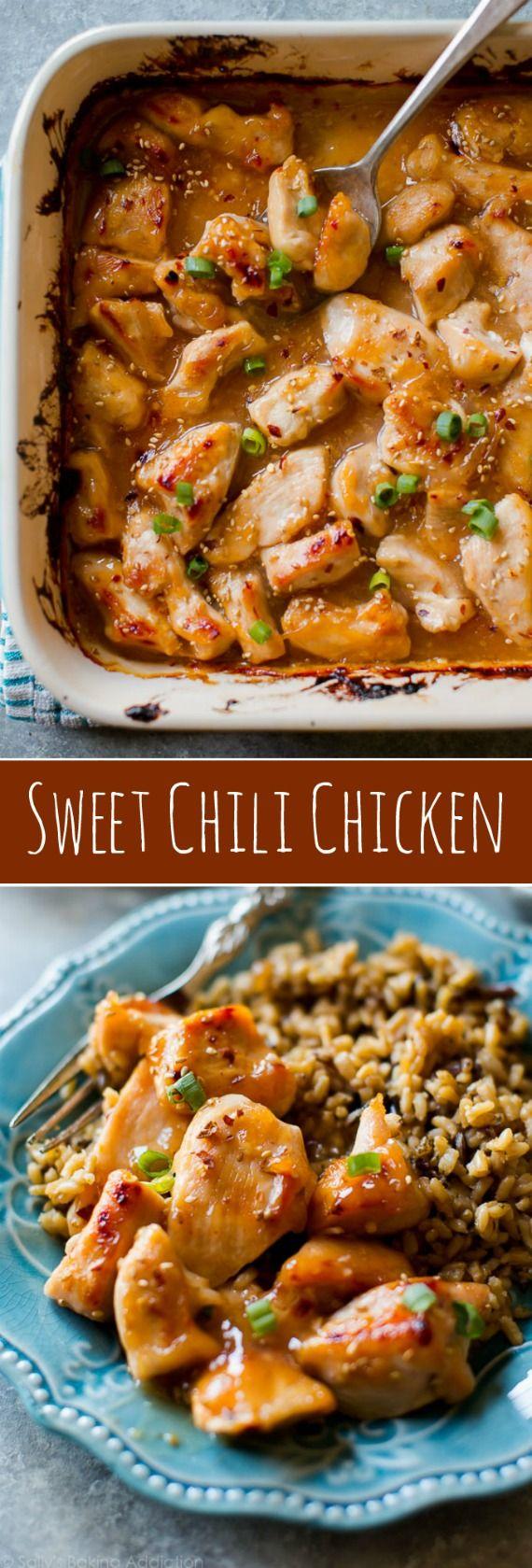 voor te bereiden eenvoudig dit makkelijk sweet chili saus, giet over de kip en bak!  Diner recept op sallysbakingaddiction.com
