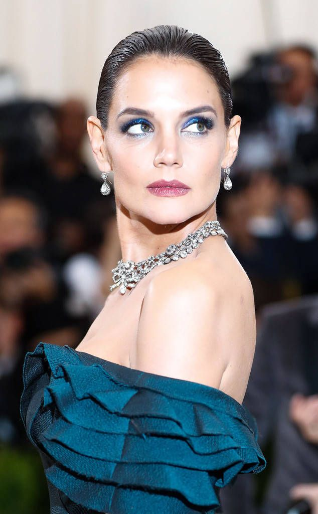 Katie Holmes from 2017 Met Gala: Best Accessories The actress wore a royal-like combo: teardrop earrings and a bib necklace. Both diamonds, of course.