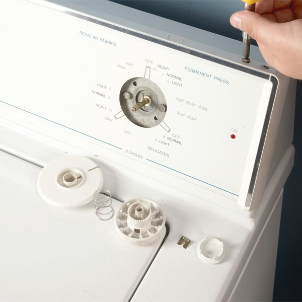 If your clothes washer is stuck on one cycle, replace the timer. It's expensive, but you'll save the cost of a service call or a new washer.