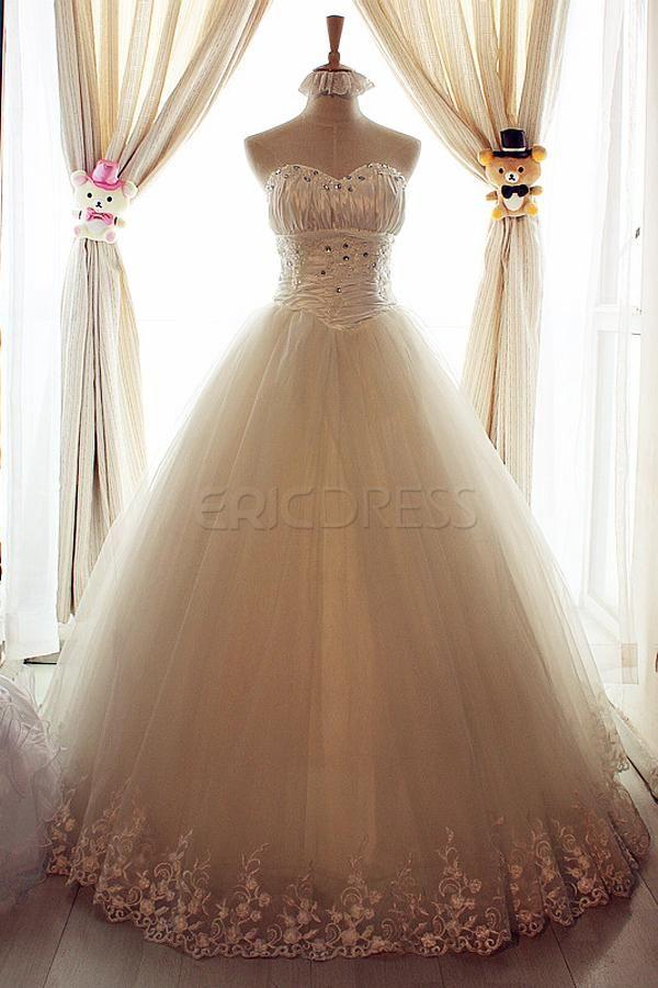 $ 208.49 Amazing A-Line Sweetheart Floor Length Lace & Beadings Wedding Dress
