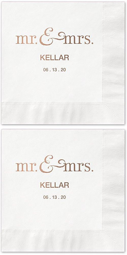 Mr And Mrs Personalized Beverage Cocktail Napkins