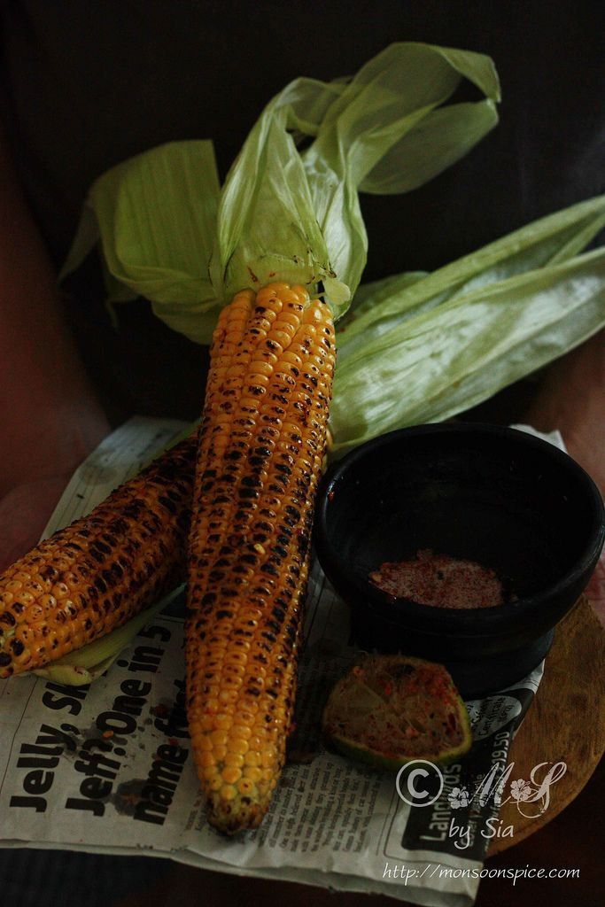 Bhutta or Butta ~ Indian styled roasted corn on the cob flavoured with lime, salt and chilli powder  Recipe: http://www.monsoonspice.com/2013/09/bhutta-or-butta-recipe-indian-styled.html