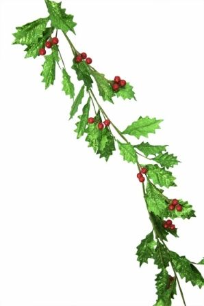1.8m Leaf garland Lime green glitter leaf with red glitter berries Code: LGAR180GRNHOLY