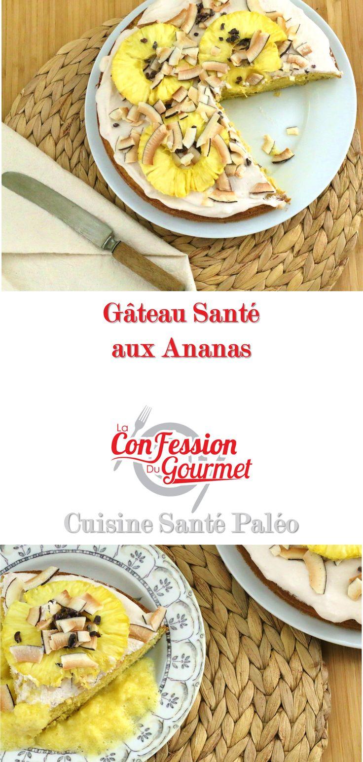 Gâteau Santé aux Ananas Sans Grains/Gluten Sans Produits Laitiers Sans Sucre Raffiné Purement paléo!  Se fait aisément dans un mélangeur. Voir la vidéo de cette recette : http://www.laconfessiondugourmet.com/gateau-aux-ananas/  #gateau aux ananas #gateau ananas #gateau a l'ananas #recette de gateau #dessert santé #dessert sans gluten #la confession du gourmet #paléo