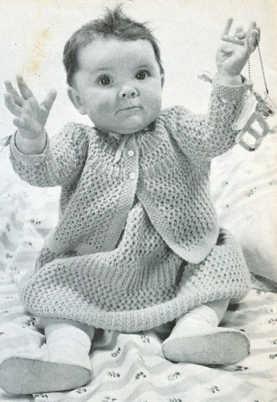 Knitting Patterns Baby Frocks : Frock and matinee coat vintage baby knitting pattern PDF