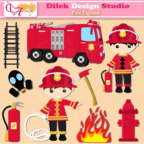 Cute Dilek Fire Fighter clipart perfect for your craft project, scrapbooking, invitation, web design, paper product, design card and everything else.  Great for cute announcements web store fronts, blog design or simple enough for embroidery