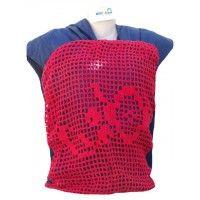Wrap Sling Malha 100% Algodão Penteada - Azul Escuro com Crochet Vermelho