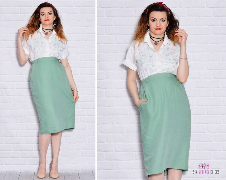 Pencil Skirt Pocket Skirts High Waisted Slit Vintage Secretary Boss Plus Size Short Women High Rise Sheath Linen by SixVintageChicks on Etsy