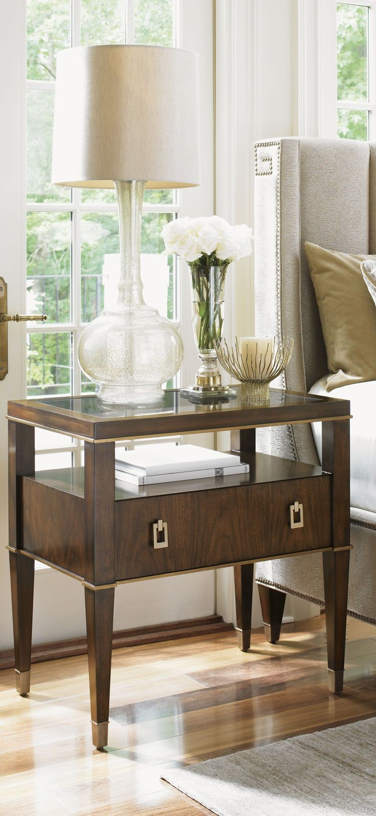 Modern bedside table ideas - Contemporary Wooden Nightstand With All The Space You Need To Keeo Your Things Close To You