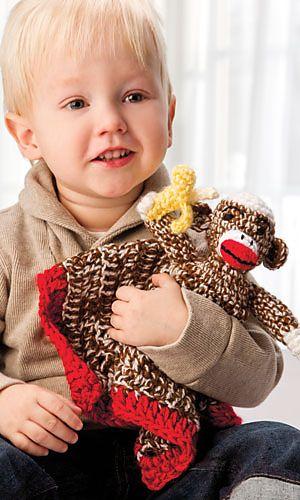 Ravelry: Sock Monkey Cuddle Blanket pattern by Bendy Carter. Crochet! Magazine, Spring 2013.