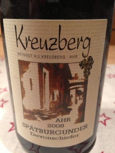 Spaetburgunder is Pinot Noir in german language. Kreuzberg is the quality name to watch from Ahr, Germany