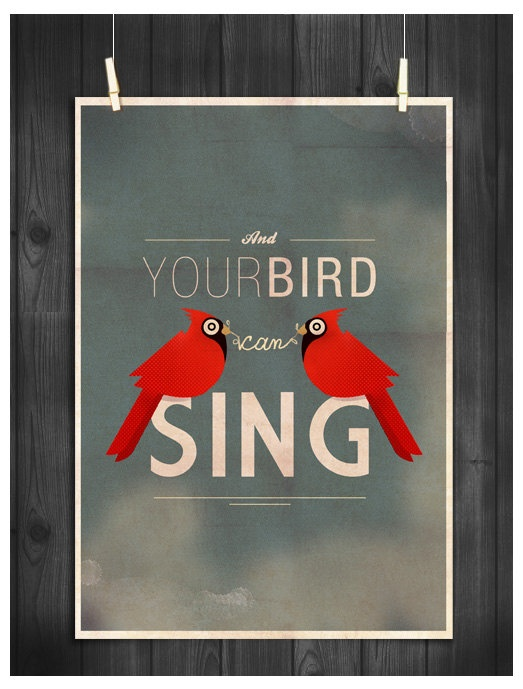 PRINT A3  The Beatles   And Your Bird Can Sing   by LoversRockShop, $21.00