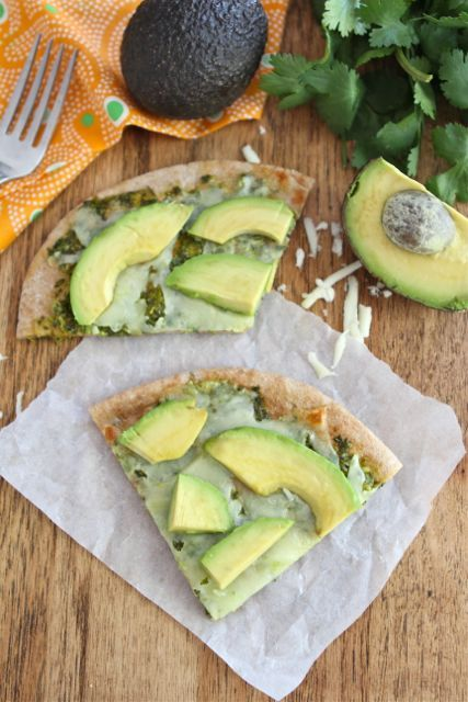 Avocado Pizza with Cilantro Sauce