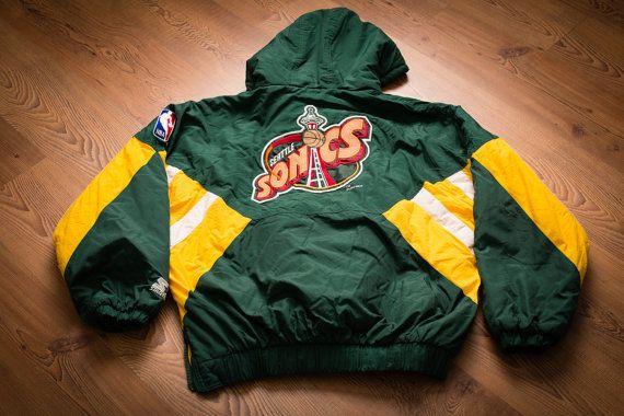 Vintage 90s Seattle Supersonics Logo Starter Winter Coat, Sonics NBA Authentics, Green & Yellow