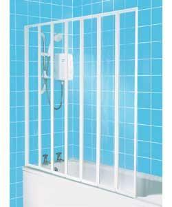 7 fold framed shower screen white fantasy extension. Black Bedroom Furniture Sets. Home Design Ideas