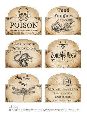 Etiquetas para impressão do Dia das Bruxas