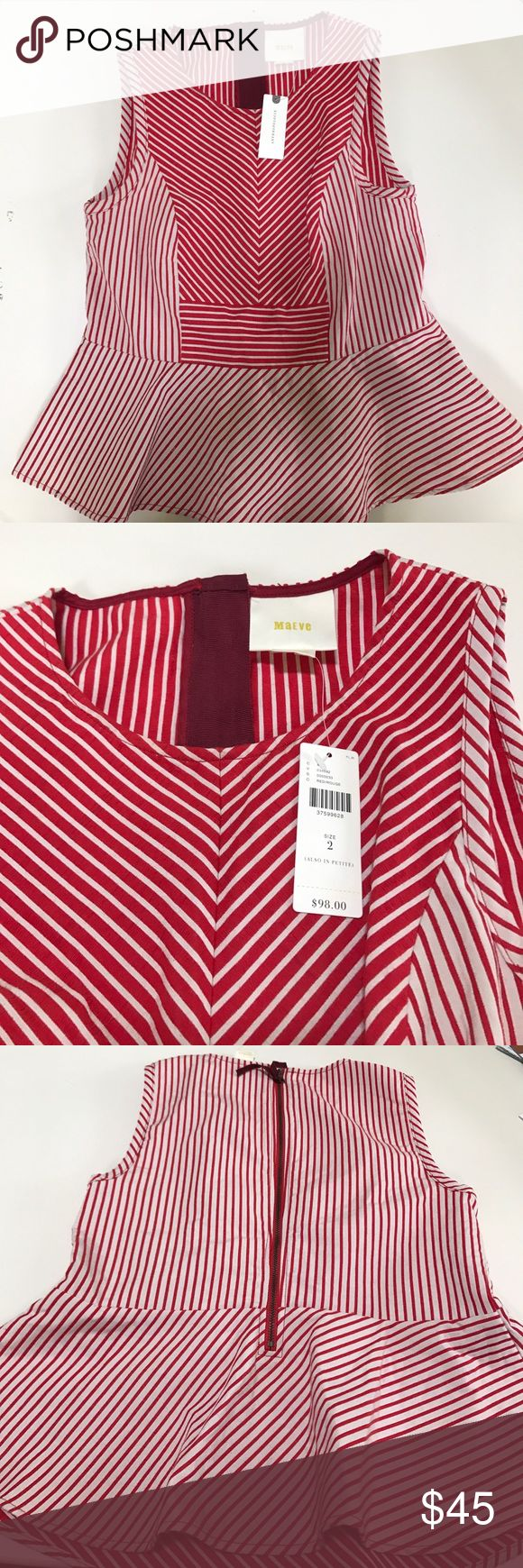 Anthropologie Maeve peplum top. Red and white stripe peplum top size2 NWT. Reasonable Offers are welcome Anthropologie Tops Blouses