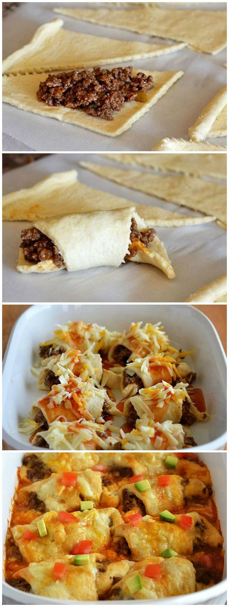 Top off these super quick beef enchilada crescents with diced tomato and avocado!