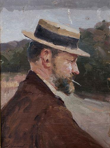 Nicolae Vermont - PORTRET CU PĂLĂRIE ȘI ȚIGARĂ (AUTOPORTRET)