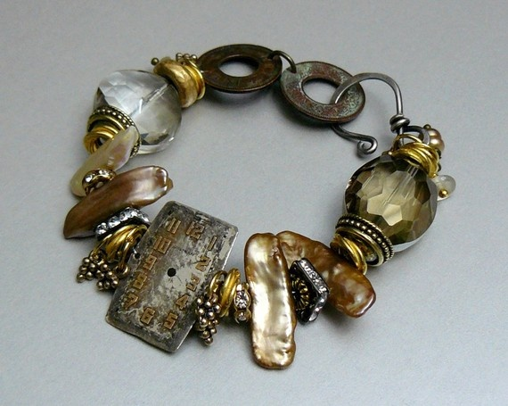 """Sands of Time Steampunk Bracelet with Freshwater Pearls, Crystals, Antique Clock Face and Coins, Gold and Sterling Silver"""" by pmdesigns09"""