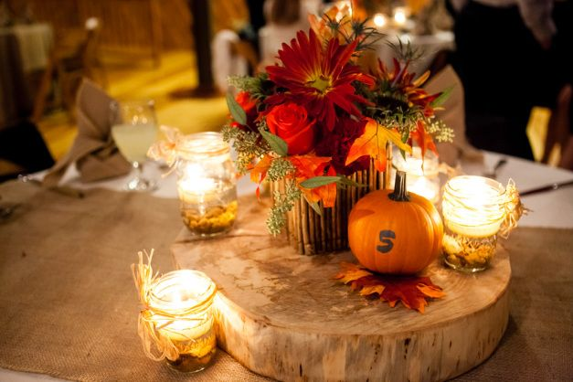 Autumn Wedding Centerpiece And Table Numbers