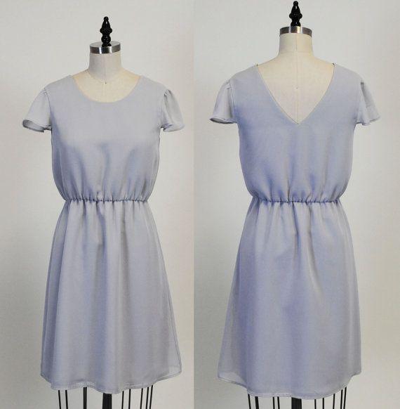 Lexi Grey : Grey chiffon dress high low skirt cap by MfandjDesigns