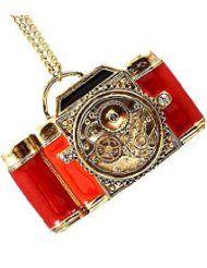 Collier à Large Appareil Photo Rouge - Collier à Pendentif en Forme de Grande Appareil Photo