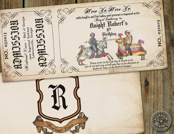 Medieval Times or Renaissance Birthday Party Invitation Ticket on Etsy, $26.50
