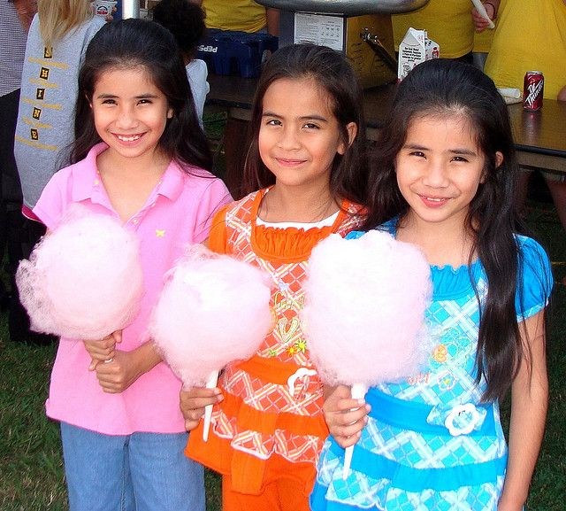 Three girls with cotton candy